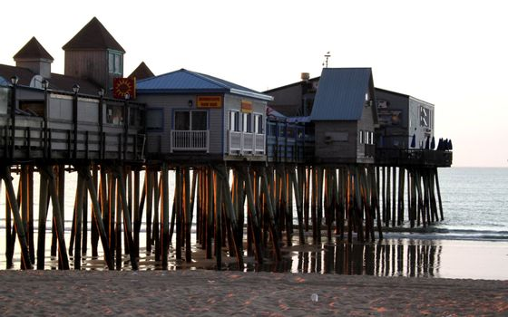 View of Old Orchard Beach pier in the early sunlight