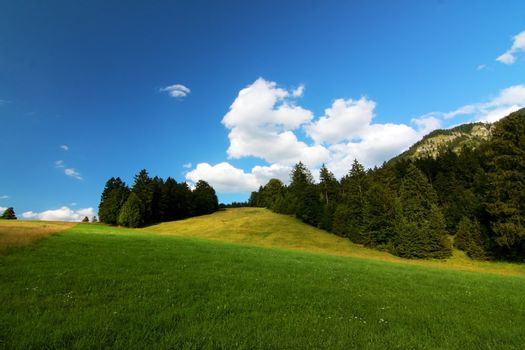 Alpine landscape with bright blue sky and mountain