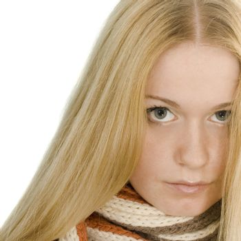 Blond woman in a scarf