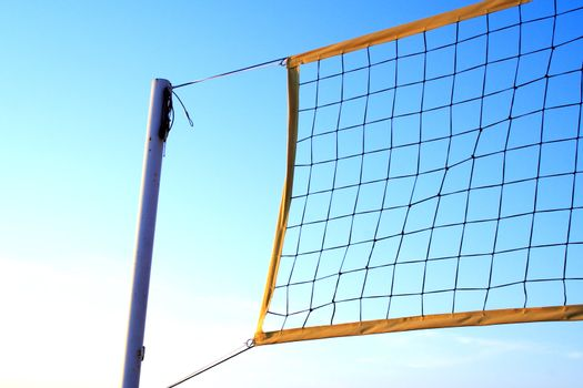 Foto of volleyball net at summer day
