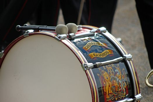 Close up view of a Grenadier Guard's drum