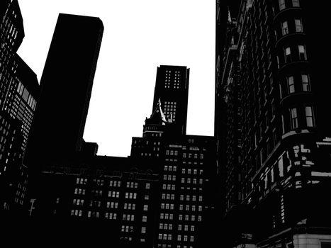 Manhattan skyline seen in silhouette form