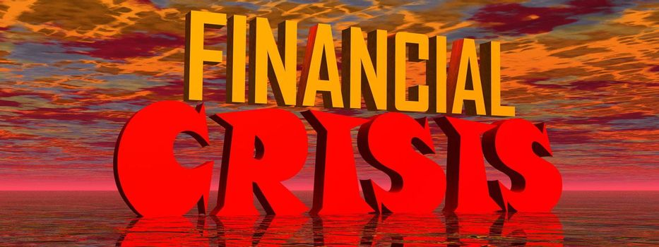 Red and orange capital letters for financial crisis in stormy background