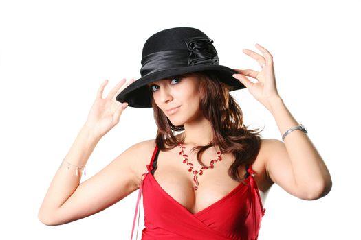 hat headdress beauty girls lifestyle elegance isolated