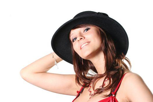 woman skin elegance isolated breast hat portrait