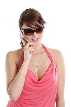 sunglasses adult teenagers telephone communications women young