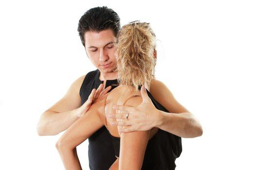 men women couple dancer latin flirting  isolated