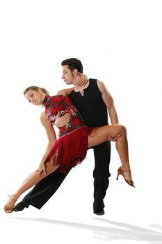 dancer ballroom dancing couple latin rumba white