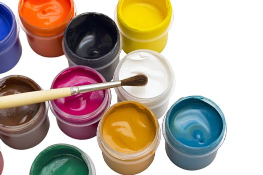 colorful gouache paint and brush