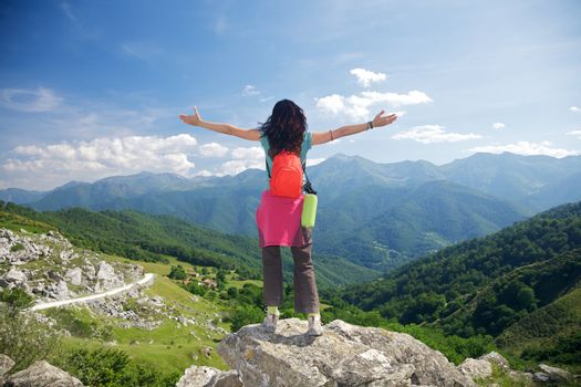 happy trekking woman in Picos de Europa