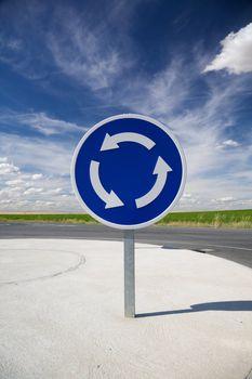 roundabout blue signal