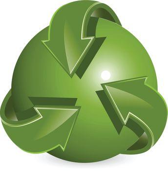 Abstract illustration green round arrows around ball