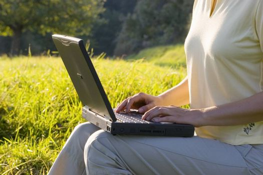 Woman typing on a laptop in a green meadow