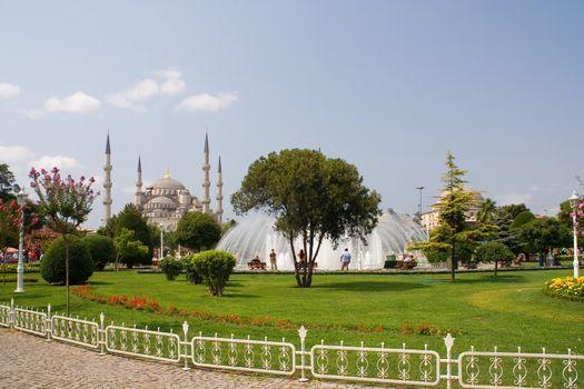 minaret dome islam mosque blue sky gardens