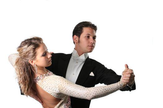 dancing couple isolated white background waltz tango