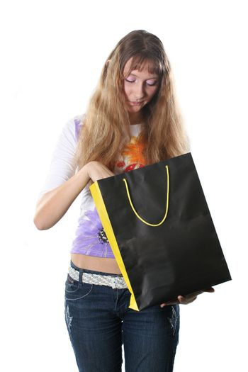 buying smiling shopping bag black isolated casual