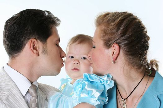 smiling family child isolated white happiness parent