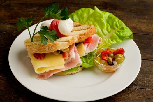 Toast with cheese and ham