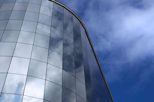 modern building and sky reflection