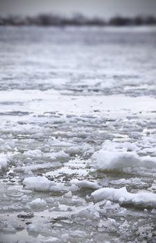 river Volga in winter time(very cold day)