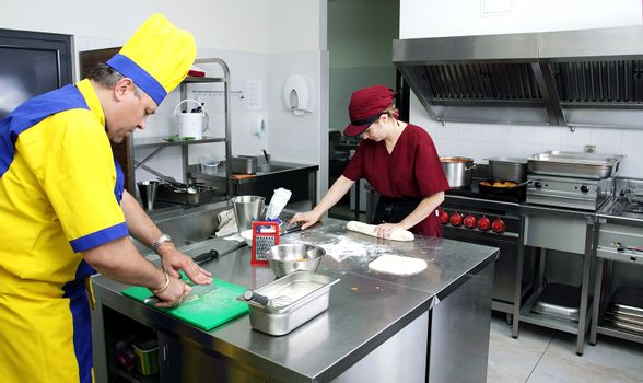 couple of cooks in action in a restaurant kitchen