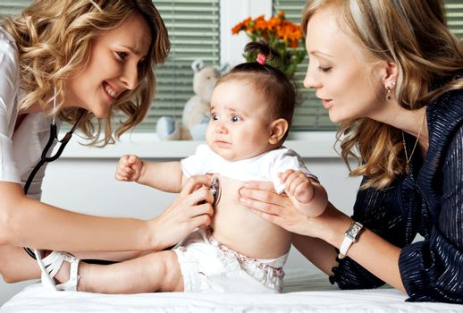 Female doctor examining with stethoscope little scared baby girl being held by mother