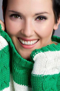 Beautiful smiling closeup happy woman