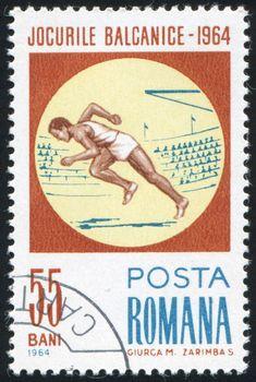 ROMANIA - CIRCA 1964: stamp printed by Romania, show Running, circa 1964.