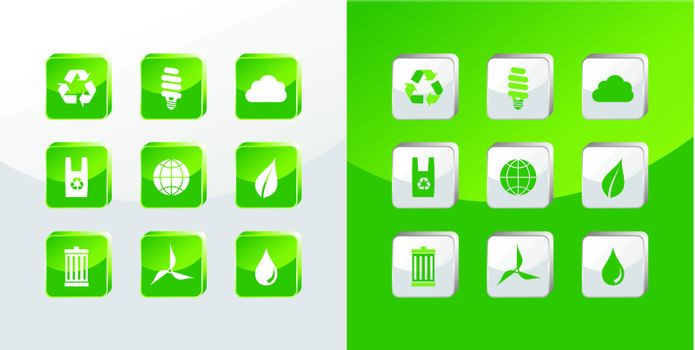 Go Green icons glass