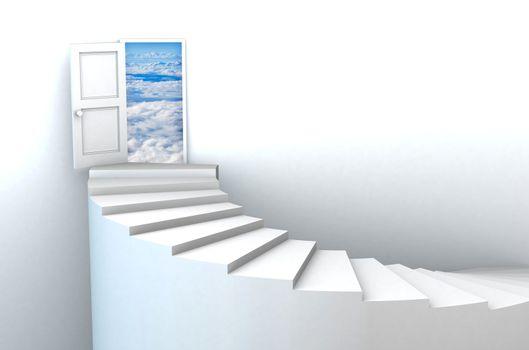 3d Stairs to open heavens door