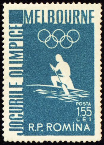 ROMANIA - CIRCA 1956: A post stamp printed in Romania shows canoe rowing, devoted to Olympic games in Melbourne, series, circa 1956