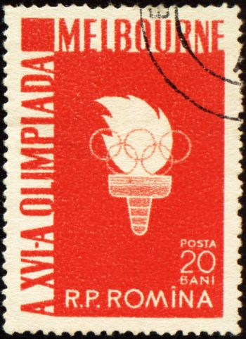 ROMANIA - CIRCA 1956: A post stamp printed in Romania shows Olympic torch with flame, devoted to Olympic games in Melbourne, series, circa 1956
