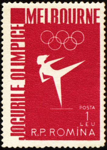ROMANIA - CIRCA 1956: A post stamp printed in Romania shows gymnastics, devoted to Olympic games in Melbourne, series, circa 1956