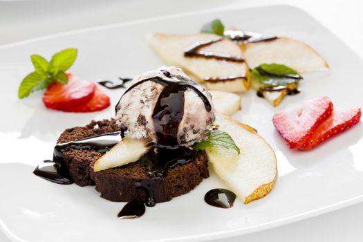 Chocolate Cake Pear And Ice Cream