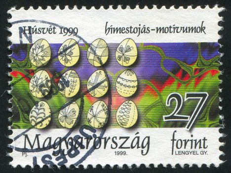 HUNGARY - CIRCA 1999: stamp printed by Hungary, shows Easter Decorated Eggs, circa 1999