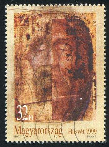 HUNGARY - CIRCA 1999: stamp printed by Hungary, shows Face of Jesus Christ with Closed Eyes, circa 1999