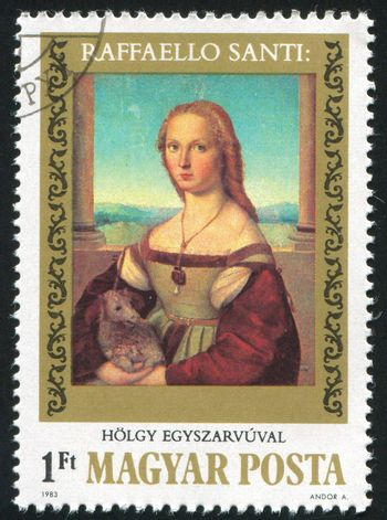 """HUNGARY - CIRCA 1983: stamp printed by Hungary, shows Picture by Raphael """"Lady, with Unicorn"""", circa 1983"""