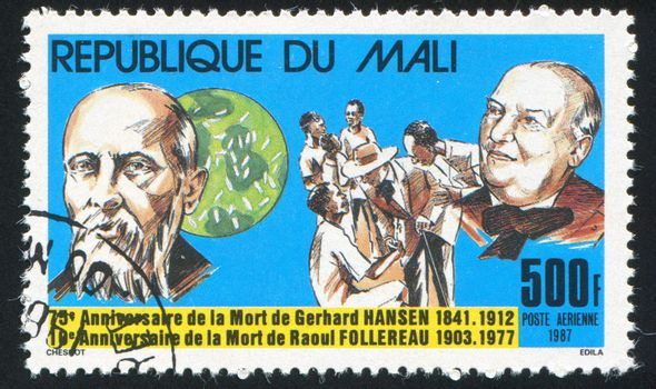 MALI - CIRCA 1987: stamp printed by Mali, shows Hansen, Bacillus, Follereau, Lepers, circa 1987