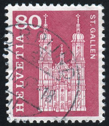 SWITZERLAND - CIRCA 1960: stamp printed by Switzerland, shows Cathedral, St. Gallen, circa 1960.