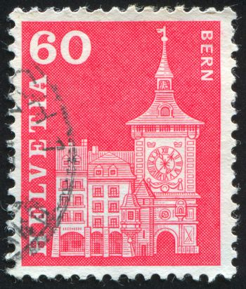 SWITZERLAND - CIRCA 1960: stamp printed by Switzerland, shows Clock Tower, Berne, circa 1960.
