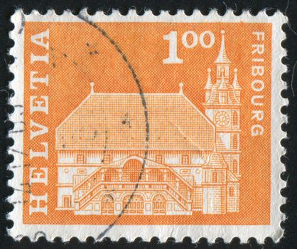SWITZERLAND - CIRCA 1960: stamp printed by Switzerland, shows Townhall, Fribourg, circa 1960.