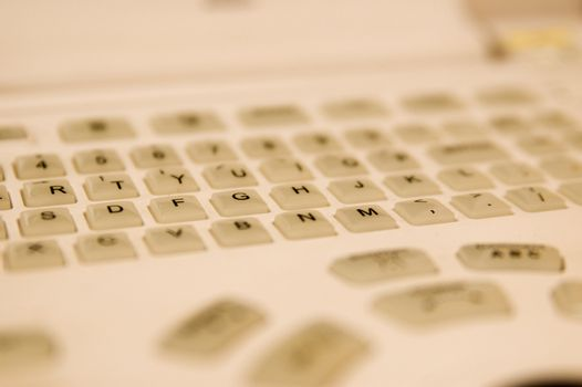 Sharpened foto of white keyboard buttons