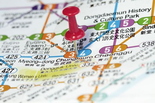 Subway map of Seoul with destination concept.