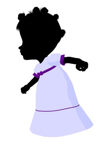 Little african american romance girl on a white background
