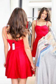 Woman trying dress