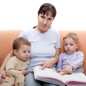 Little child and mother parent reading family book