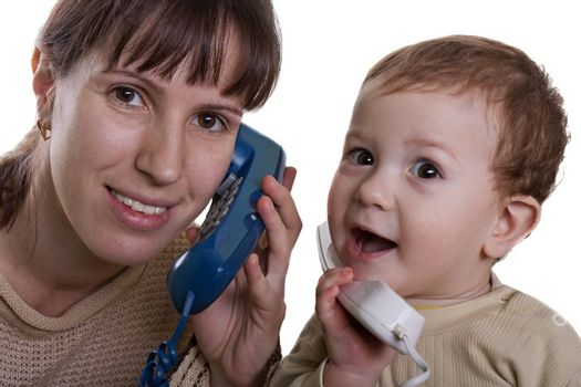 Communication - little child talking telephone