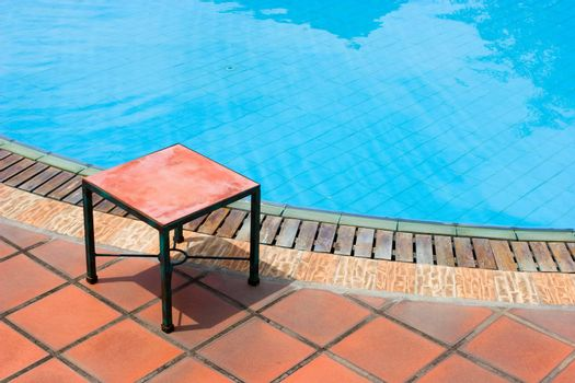 Empty table by the pool.