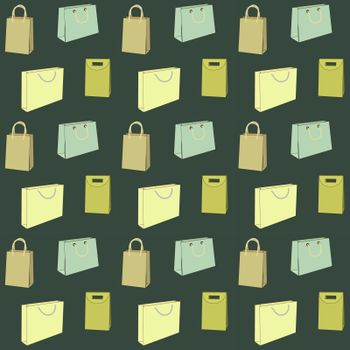 Several seamless pattern with shopping bags of different shapes