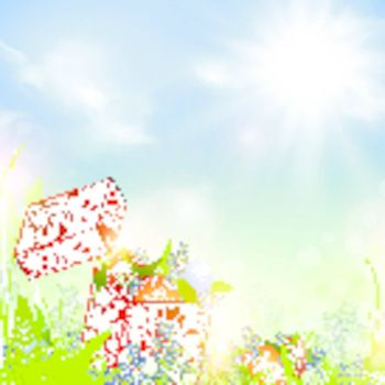 Easter meadow with holiday box and eggs over blue sky with sun